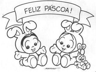 Desenho Feliz Pascoa Turma Da Monica Colorir Feliz Pascoa Turma