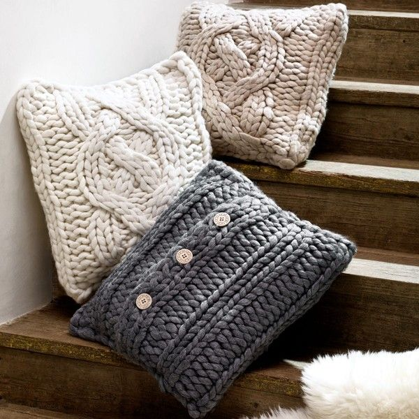 "Ugg Australia Oversized Knit Decorative Pillow, 20"" x 20"" (€135) ❤ liked on Polyvore featuring home, home decor, throw pillows, natural, plush throw pillows, oversized throw pillows, cable knit throw pillows, ugg australia and knit throw pillow"