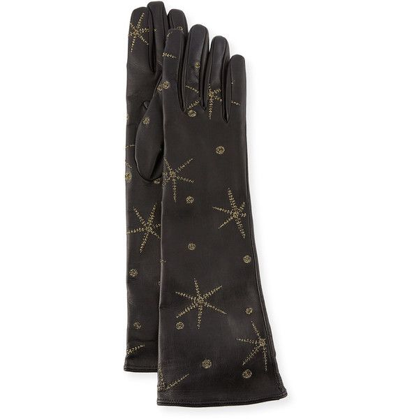 Valentino Antique Star Embroidered Leather Gloves (€890) ❤ liked on ... f9298bbcdcd0