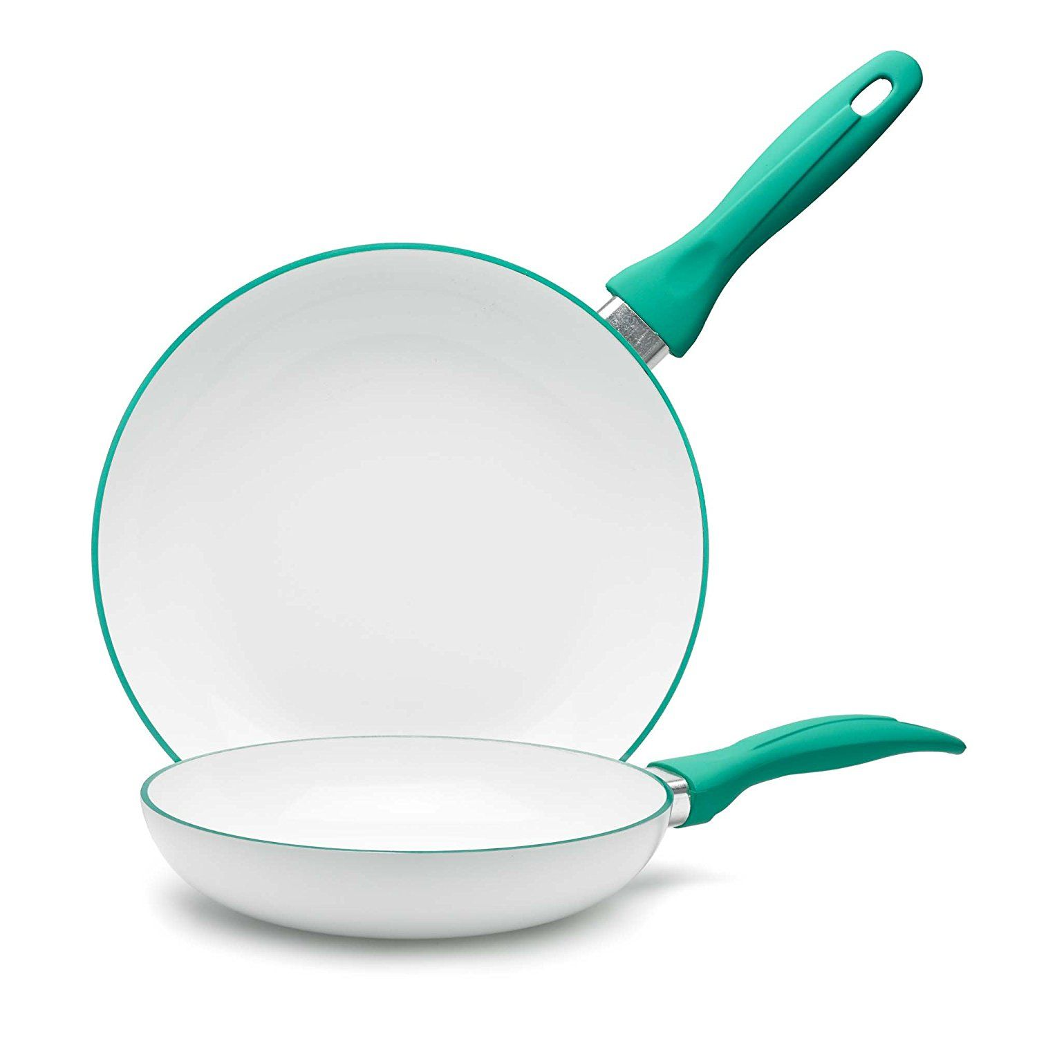 Iko Accent Ceramic Non Stick Pan With Cera2 Dual Layer Ceramic Non Stick Coating 10 Inch Green Be Sure To Ch Ceramic Non Stick Cookware Sets Non Stick Pan