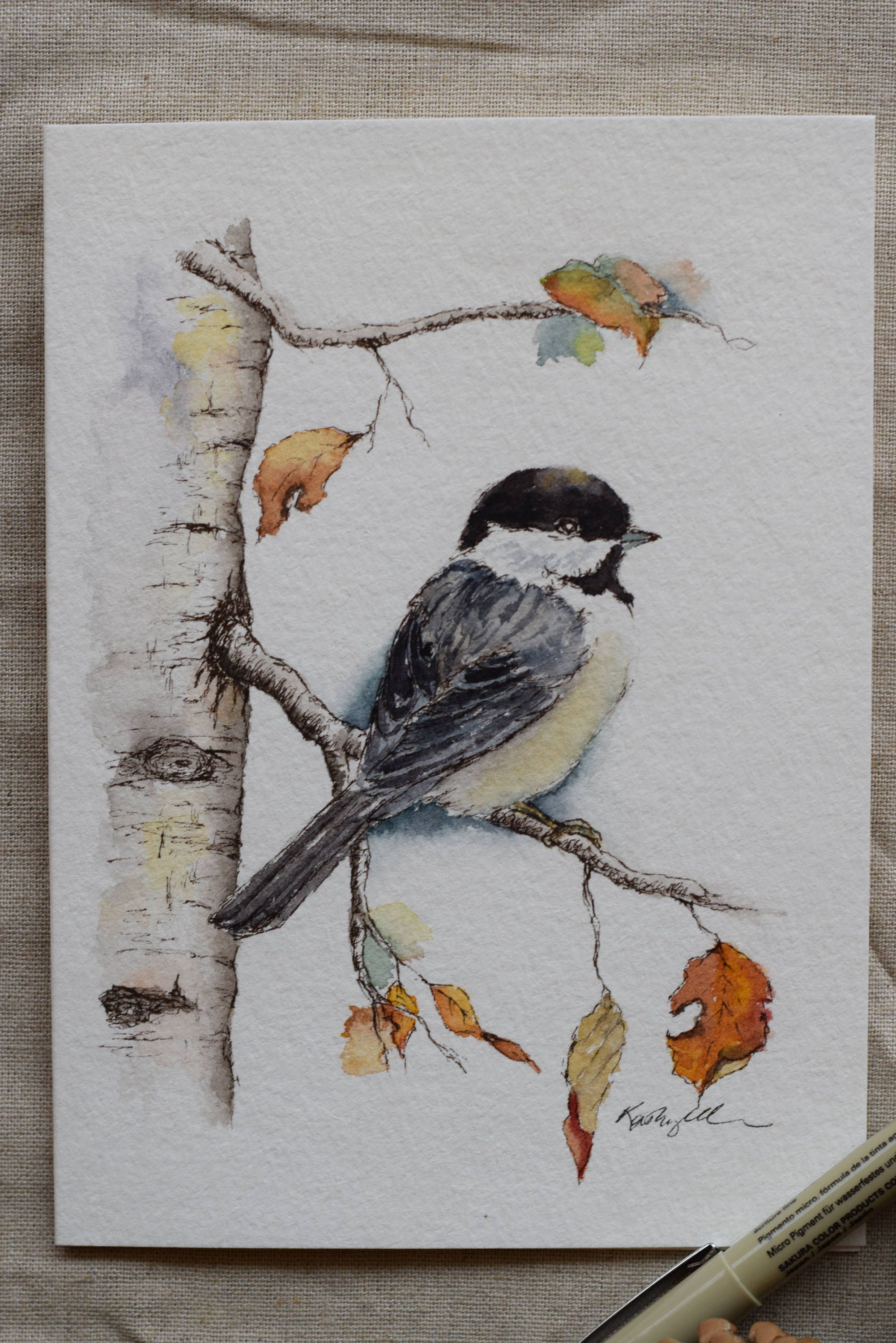 Little Chickadee Fall Leaves Holiday Christmas Card watercolor | Etsy