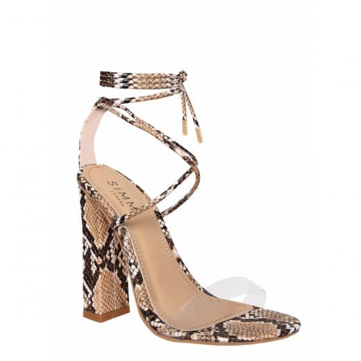 cc22909066a Tifany Beige Snake Clear Lace Up Block Heels   Simmi Shoes