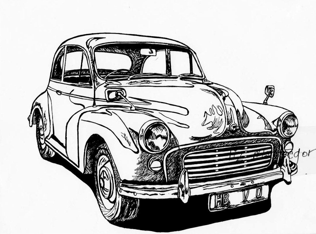 old classic vintage car drown white clipart antique car old car