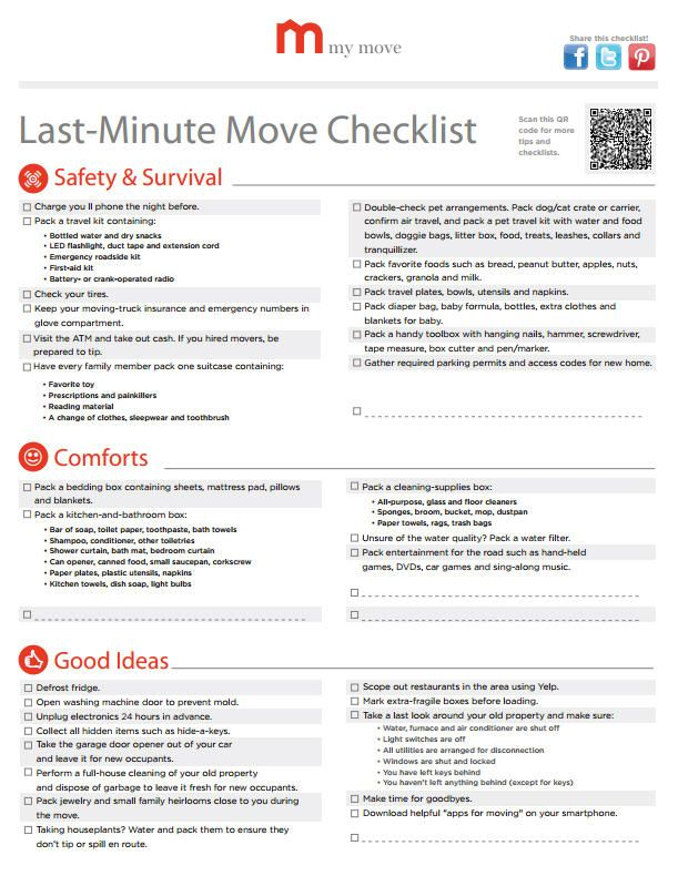 LastMinute Checklist Create A LastMinute Move Checklist So You