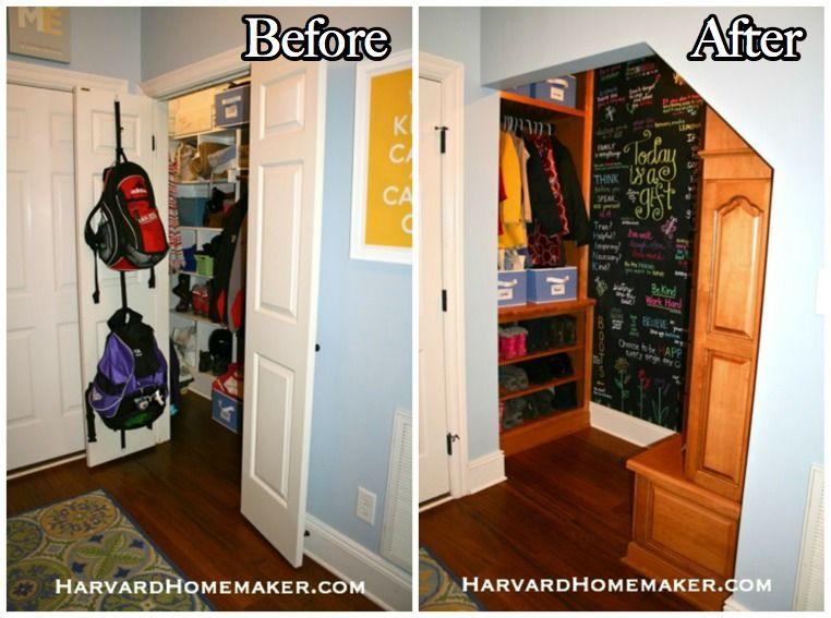 Transform A Closet Under Your Stairs To Create A Fun And Functional Mudroom Harvard Homemaker Closet Under Stairs Mudroom Mudroom Closet