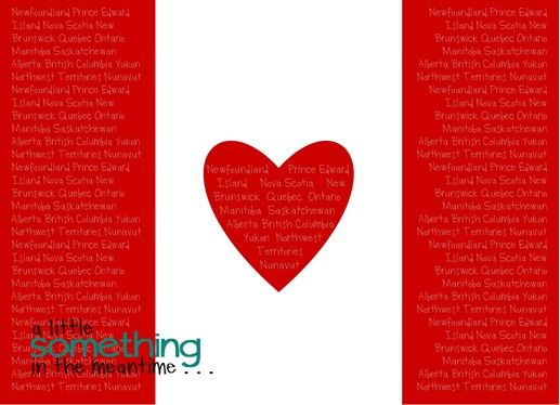 a little something in the meantime canada flag provinces printable