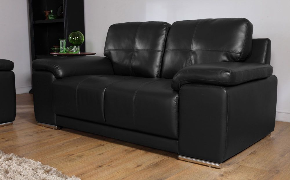 The Kansas Black 2 Seater Leather Sofa At Furniture Choice Only 299 99 Leather Sofa Furniture Leather Sofa Black Leather Sofas