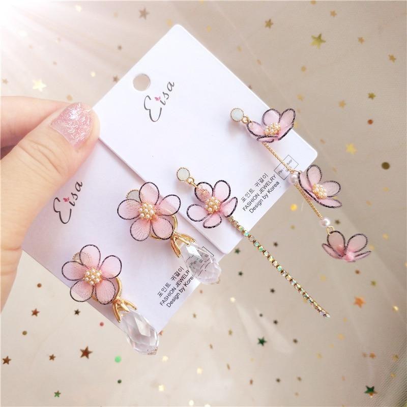 Korea Handmade Cute Lace Flower Cystal Princess Women Drop Earrings Bangle Earri…