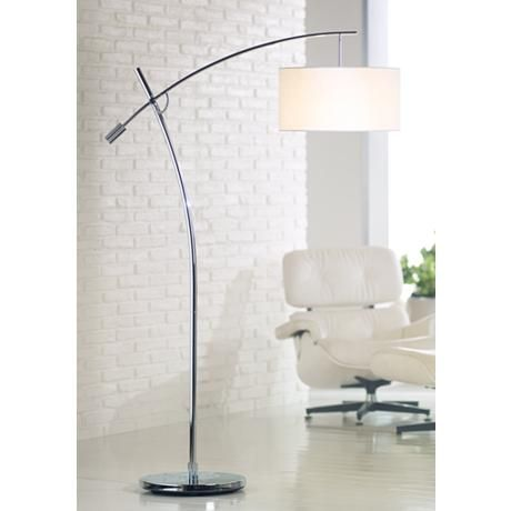Possini Euro Brushed Nickel Boom Arched Floor Lamp Lamp