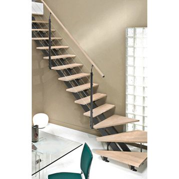 escalier escatwin escapi quart tournant en bois et aluminium 16 marches leroy merlin promo. Black Bedroom Furniture Sets. Home Design Ideas