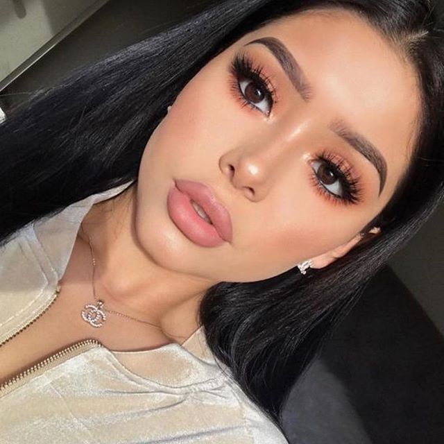 Nude lip and Gorgeous eye makeup ideas for brown eyes