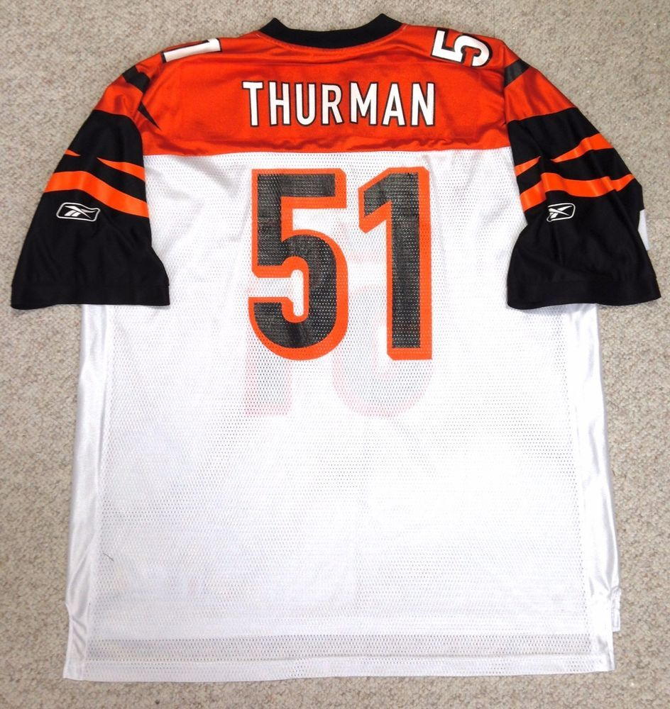 0995ef31b64 Mens XXL 2XL vtg ODELL THURMAN CINCINNATI BENGALS JERSEY  51 White orange  black  Reebok  CincinnatiBengals