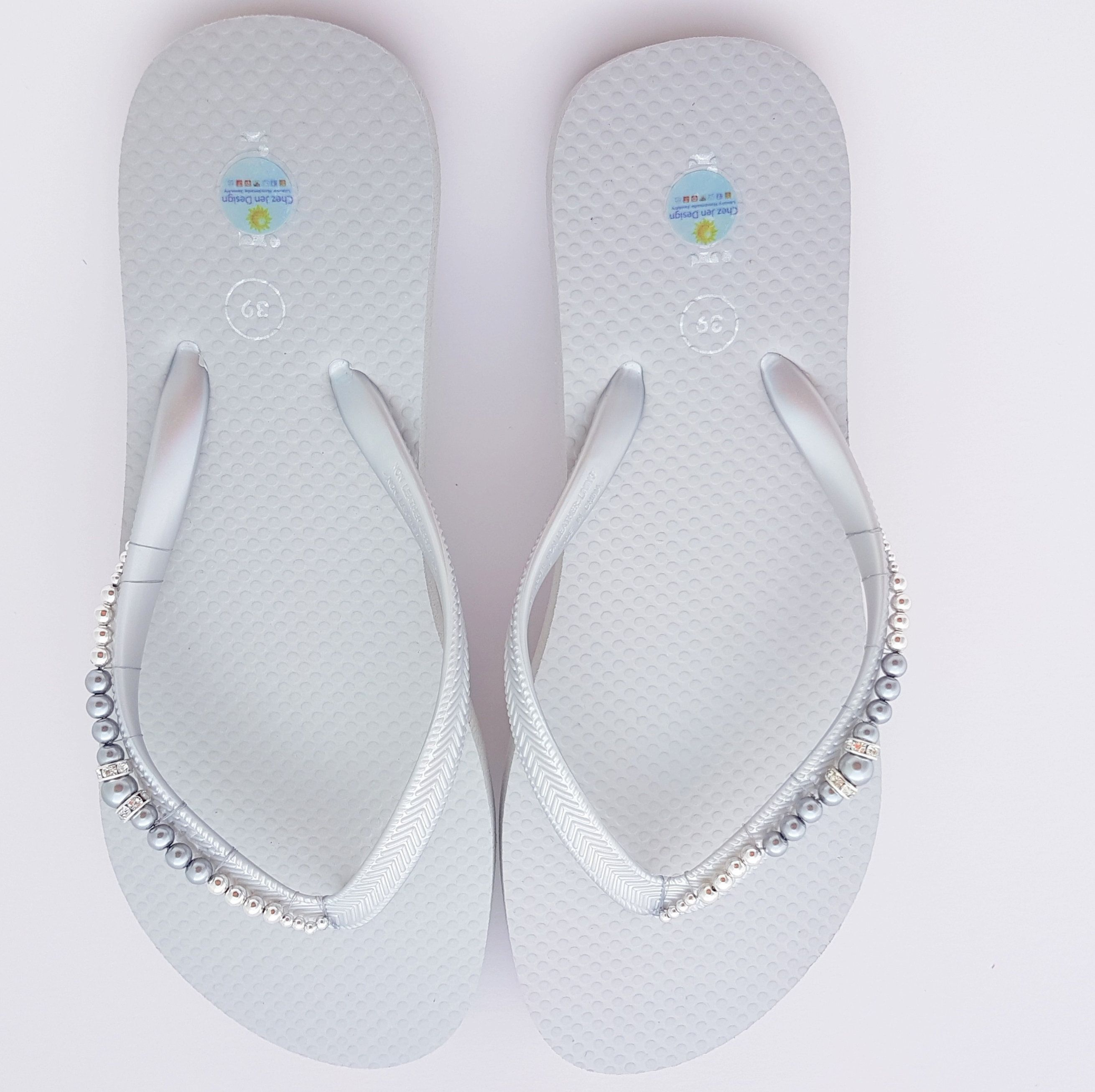 RESERVED for Denise, Silver Wedding Flip Flops, Silver Wedding ...