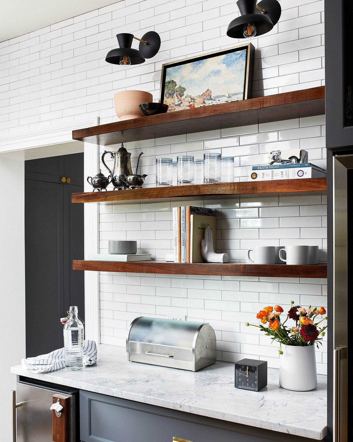 This Gorgeous Kitchen Renovation Was Designed To Be Family Friendly Floating Shelves Floating Shelves Kitchen Ikea Floating Shelves