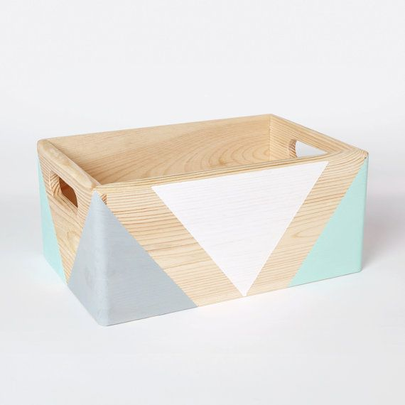 Geometric Wooden Box With Handles Wooden Storage Toy Box Etsy Wooden Storage Boxes Wood Storage Box Wooden Storage