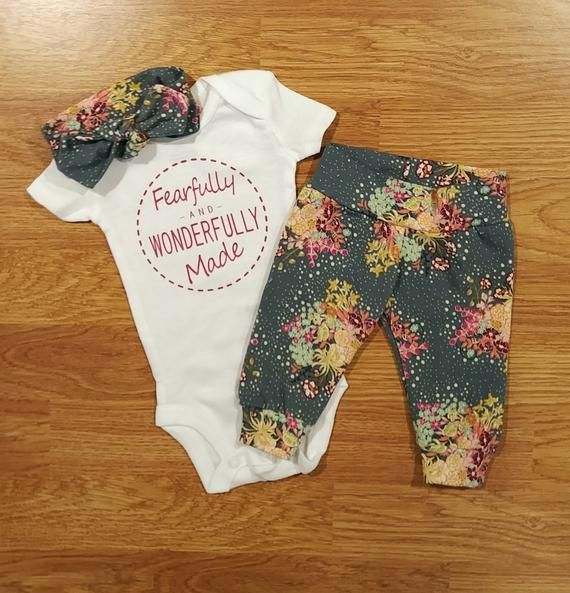 Photo of Fearfully and Wonderfully Made, Baby Girl, Going Home Outfit, shower gift, floral, coming home, reli