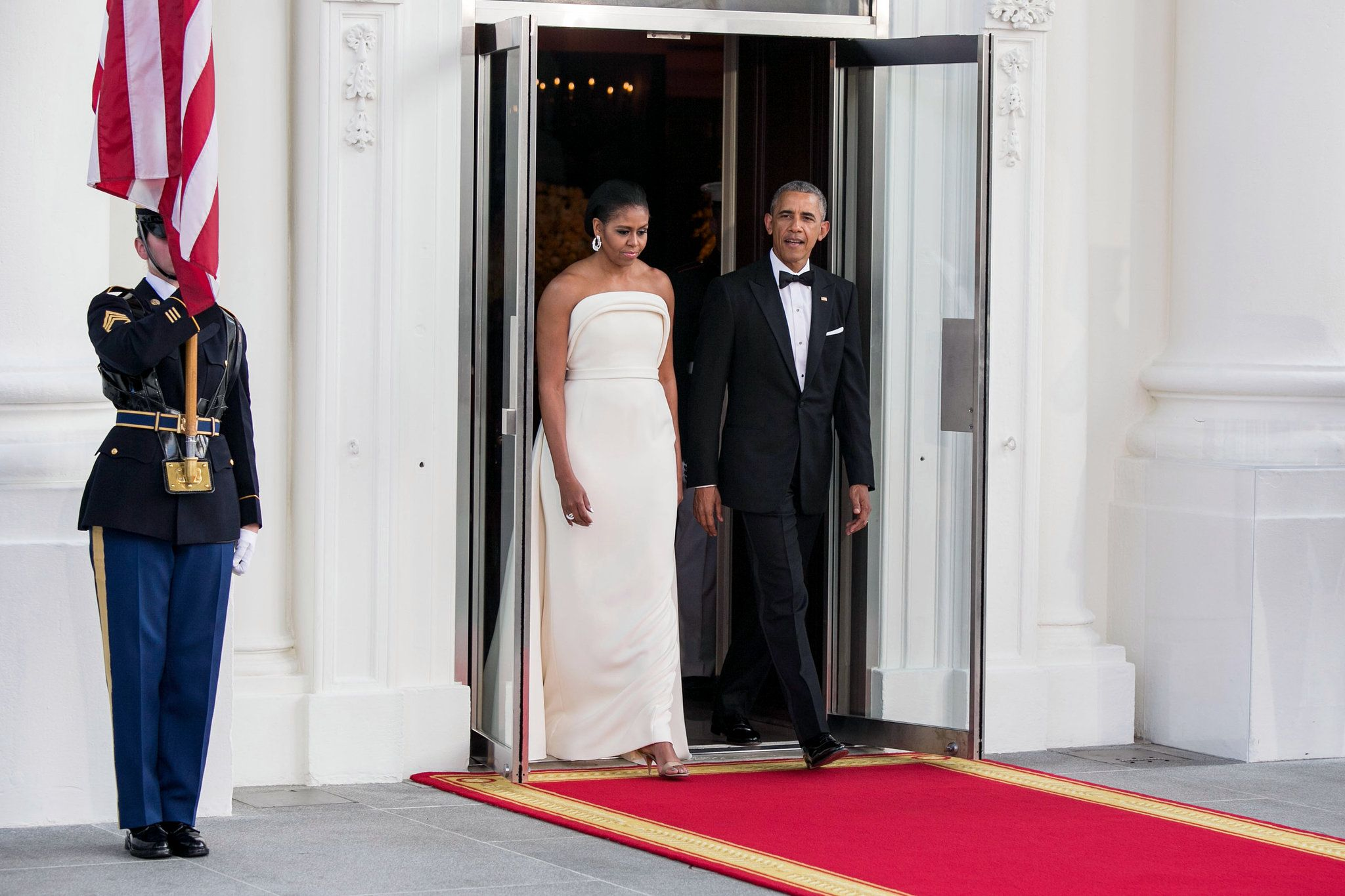 Michelle obama chooses creation by lady gagaus stylist for state
