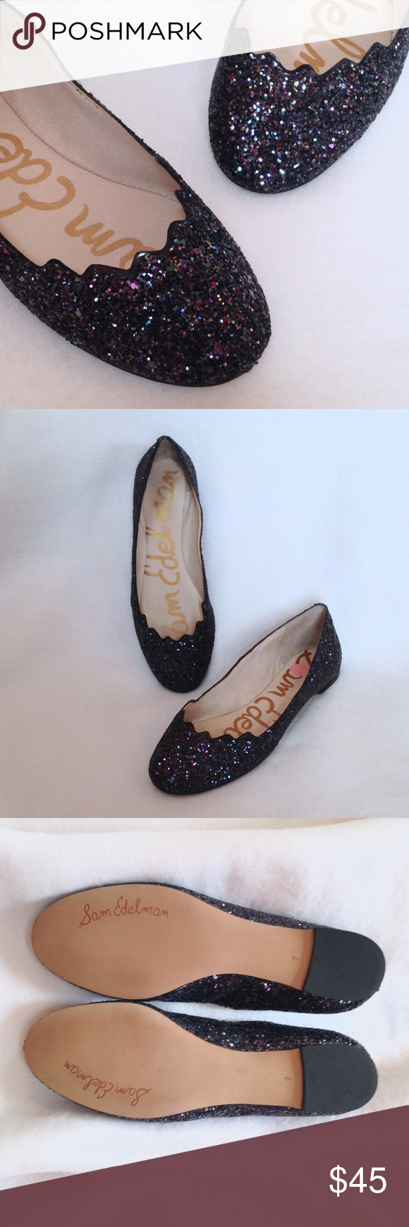 38a298428 Sam Edelman Alaine Glitter Flats - NWOT Sam Edelman Alaine glitter flats. Brand  new without tags or box. Pretty scalloped design at the toe and deep glitter  ...