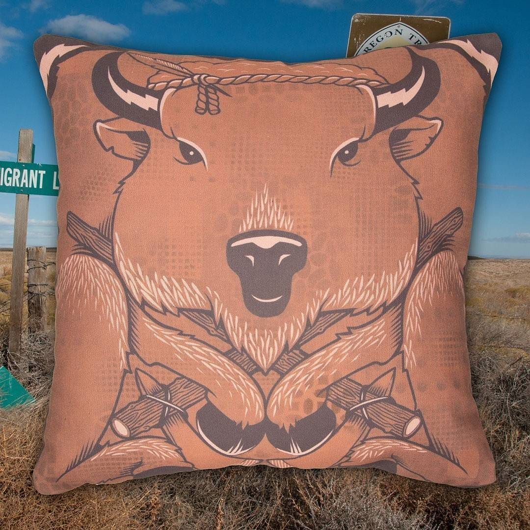 The Bison Pillow by Jeremy Fish. When you have to hit the dusty trail make sure you have this sweet pillow to ease the ride. @mrjeremyfish #jeremyfish #superfishal #shopUP #UpperPlayground #bison #oregontrail