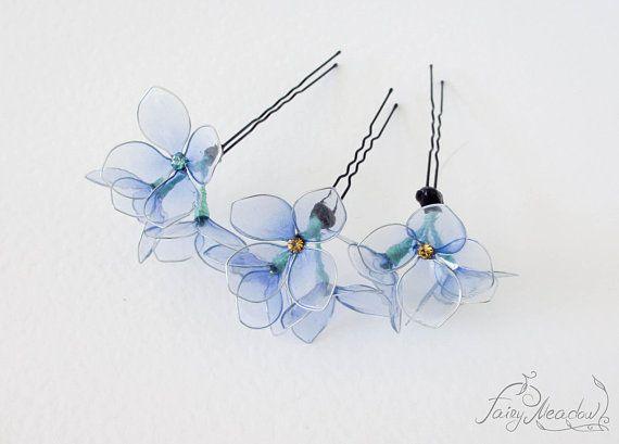 Sanften Violett 3 Stück Lila Blume Handgefertigt Haarnadel Harz Kanzashi Braut