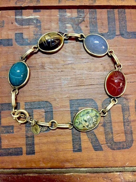 Scarab Beatle Bracelet Gold Filled Multi Gems by WarrenExchange