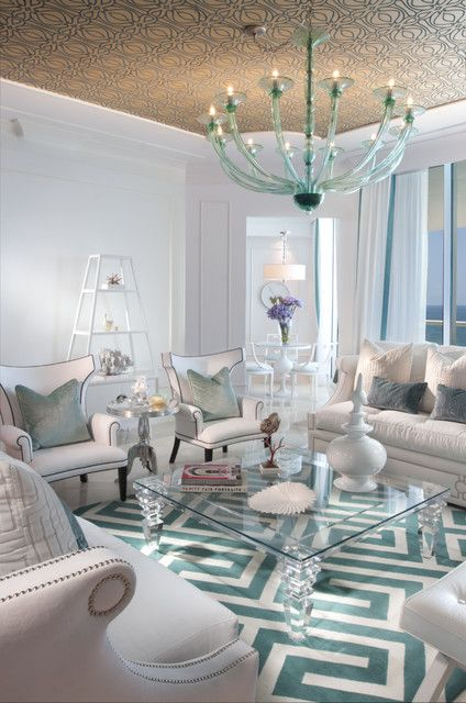 White Living Room With Aqua Accents