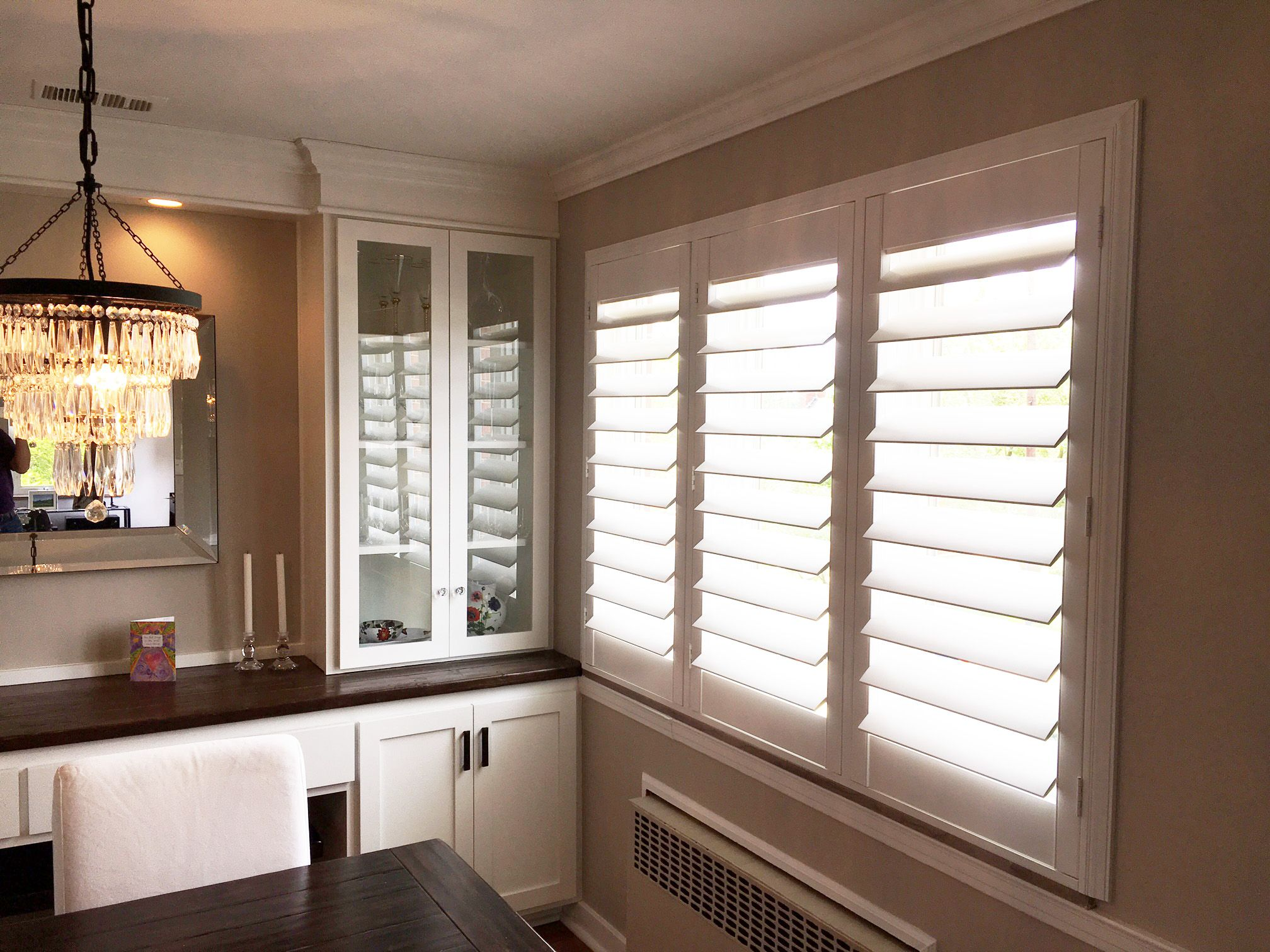 Dining Room Window Blinds Adorable Our Louverwood Perfectview Styled Shutters In A Dining Roomnot Review