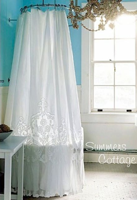 Anthropologie White French Lace Netting Ruffle Shower Curtain