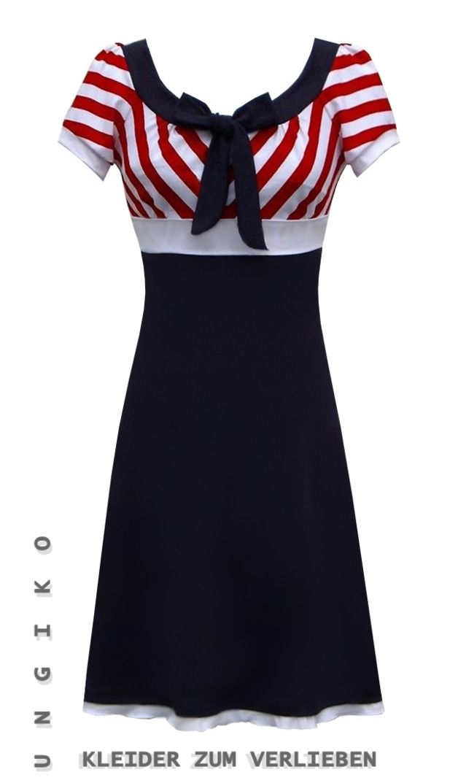 Knielanges maritimes Kleid für den Sommer / cute dress, maritime ...