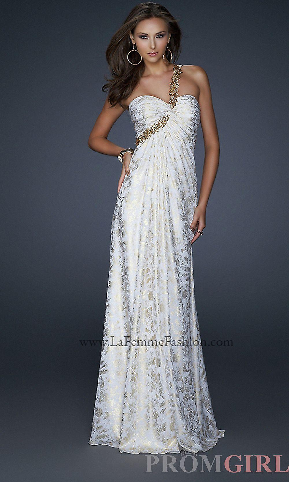 One shoulder white gold prom dress by la femme princess