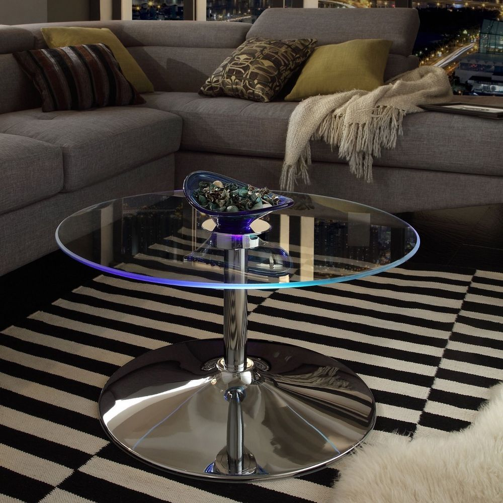 Modern contemporary coffee table clear glass top led table lights