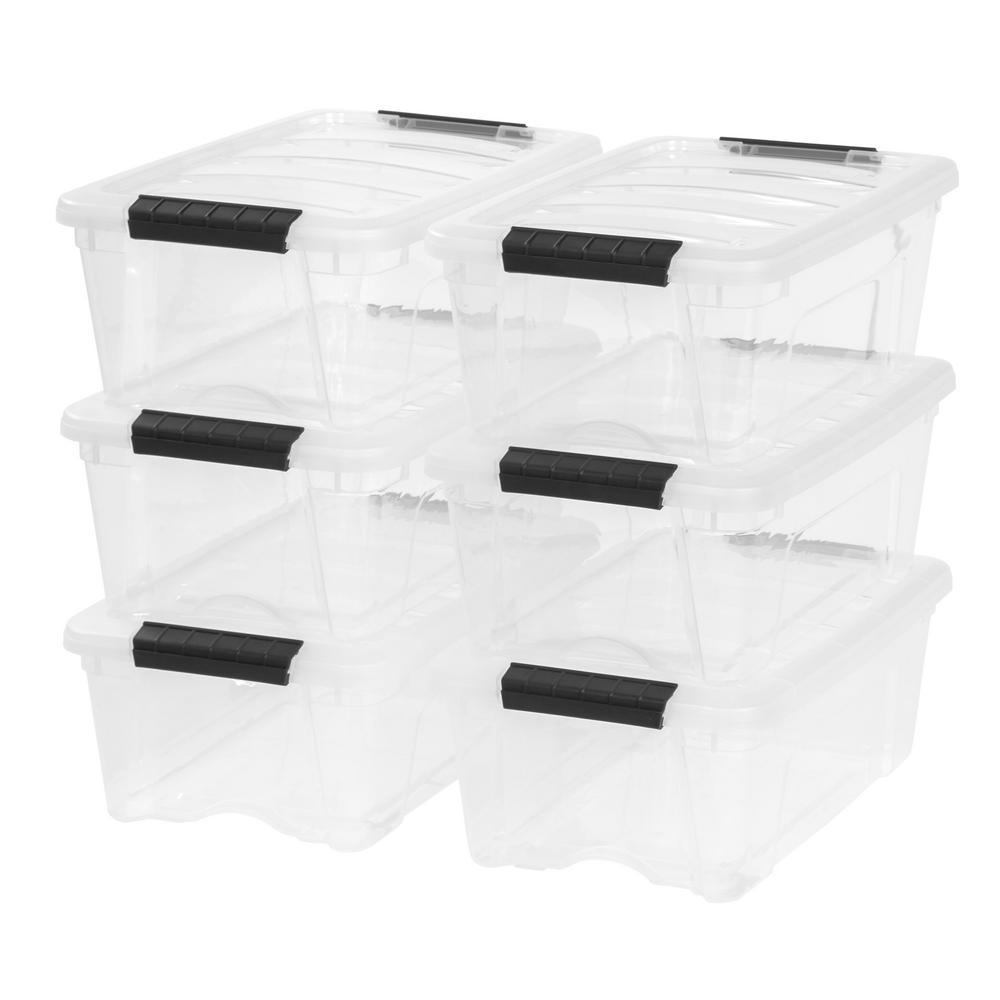 Iris 12 Qt Stack And Pull Storage Box In Clear Pack Of 6 Plastic Box Storage Storage Bins Storage Tubs
