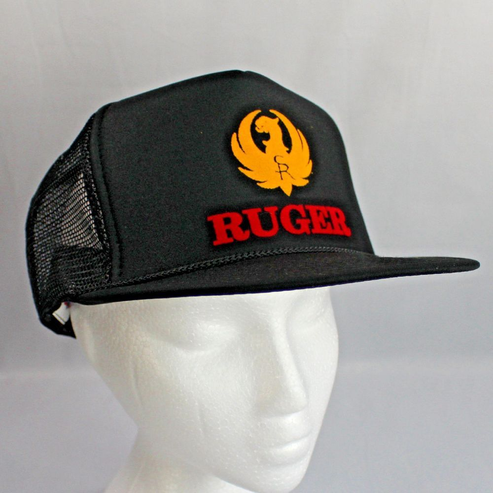 13edc462 Ruger Black Trucker Hat Yellow Logo Red Writing Adjustable Snap Back #Ruger  #TruckerHat