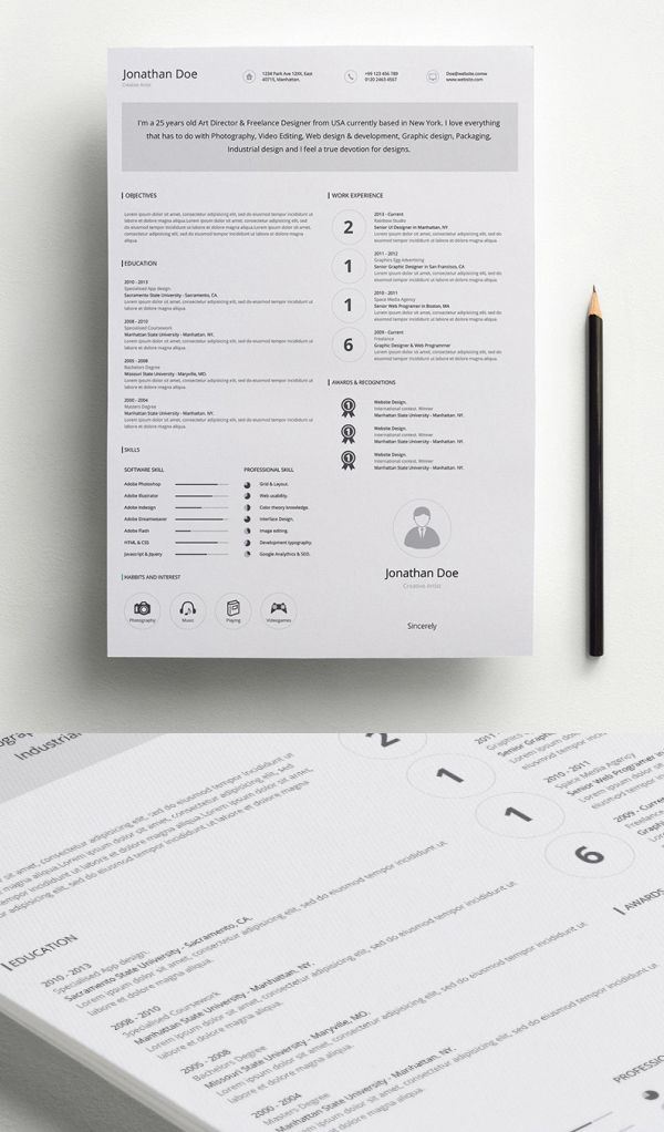 Free Professional Resume Template Ai  Free Psd Files