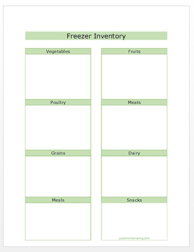 Inventory List For Freezer  Freezer Organizations And Organizing