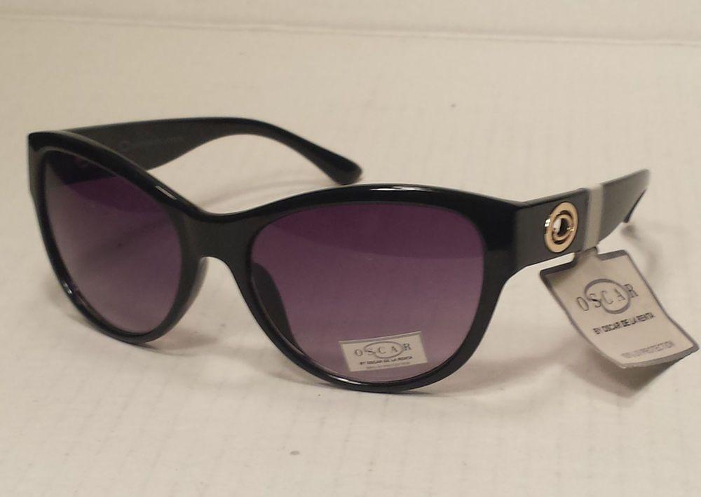 Oscar De La Renta women sunglasses black cat eye style NWT with pouch  #OscardelaRenta #CatEye
