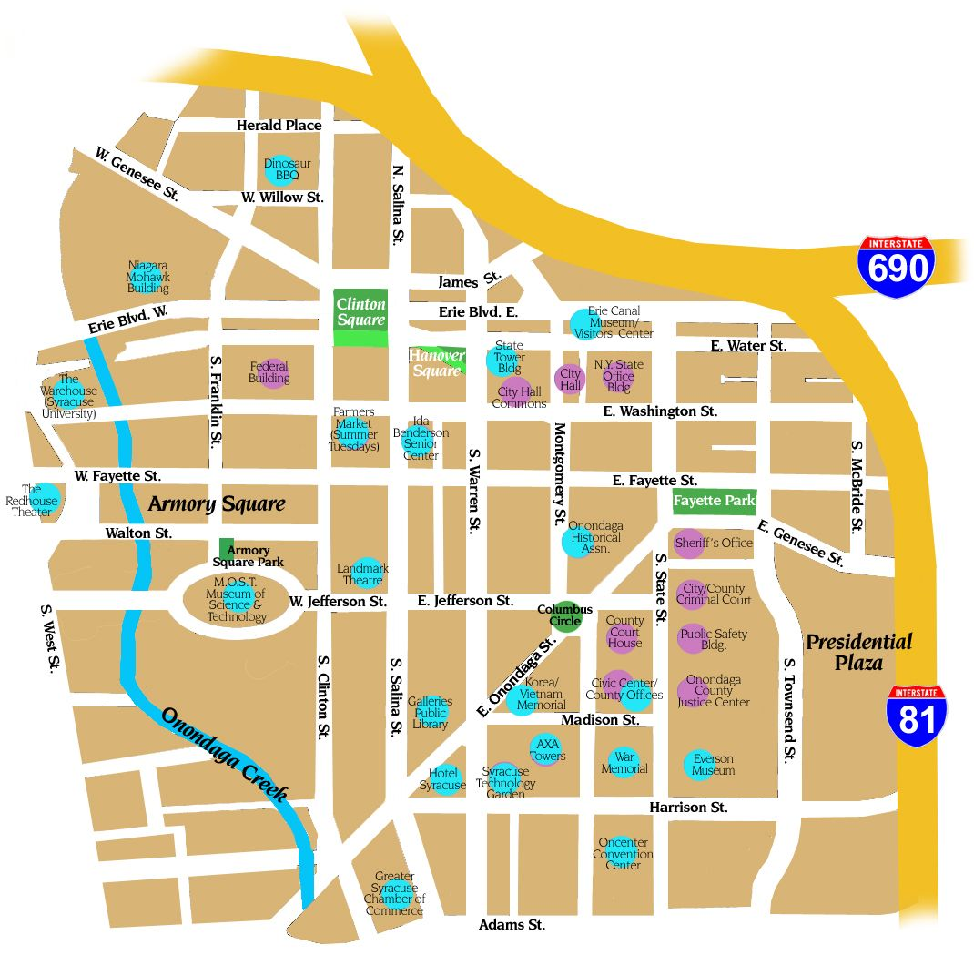 a map of downtown syracuse new york