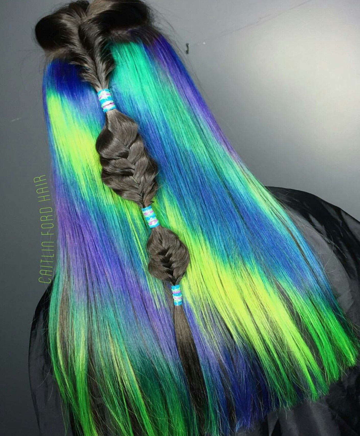 Blue neon green dyed hair color