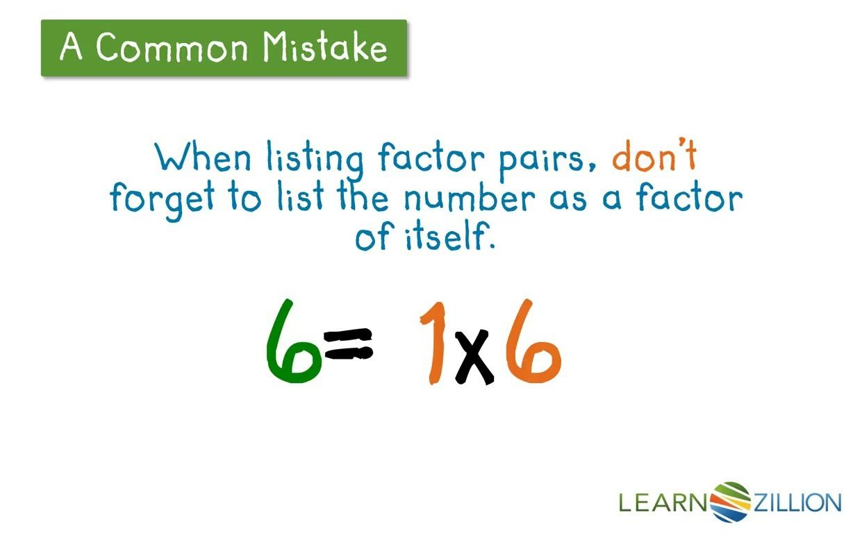 Find All Factor Pairs Of A Number Using A T Chart