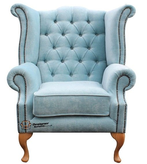 Best Chesterfield Fabric Queen Anne High Back Wing Chair Duck 400 x 300