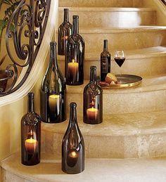 weinflaschen treppen deko ideen kerzenhalter zum selbermachen hochzeit diy pinterest. Black Bedroom Furniture Sets. Home Design Ideas