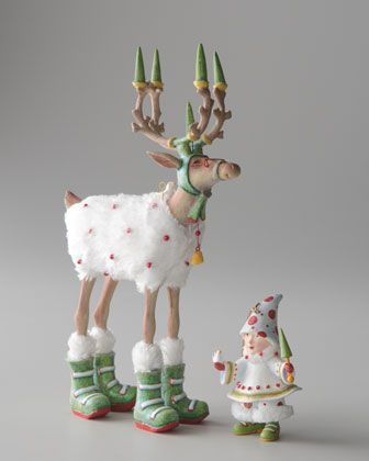 """""""Blitzen"""" Reindeer Figure and Elf Ornament by Patience Brewster at Horchow."""