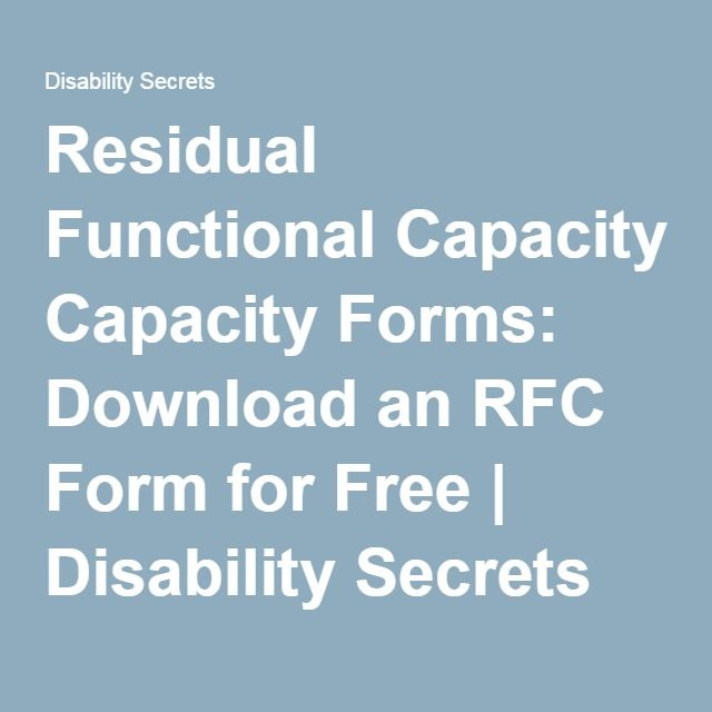 Residual Functional Capacity Forms Download An Rfc Form For Free