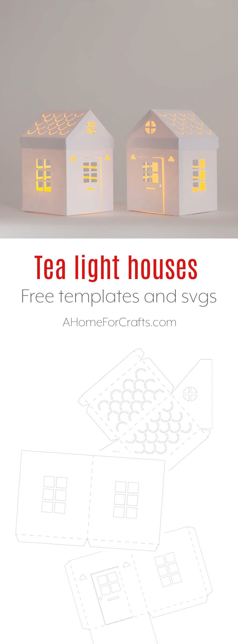 Tea Light Paper House With Free Download Template And Svg Paper House Template Paper House Diy House Template