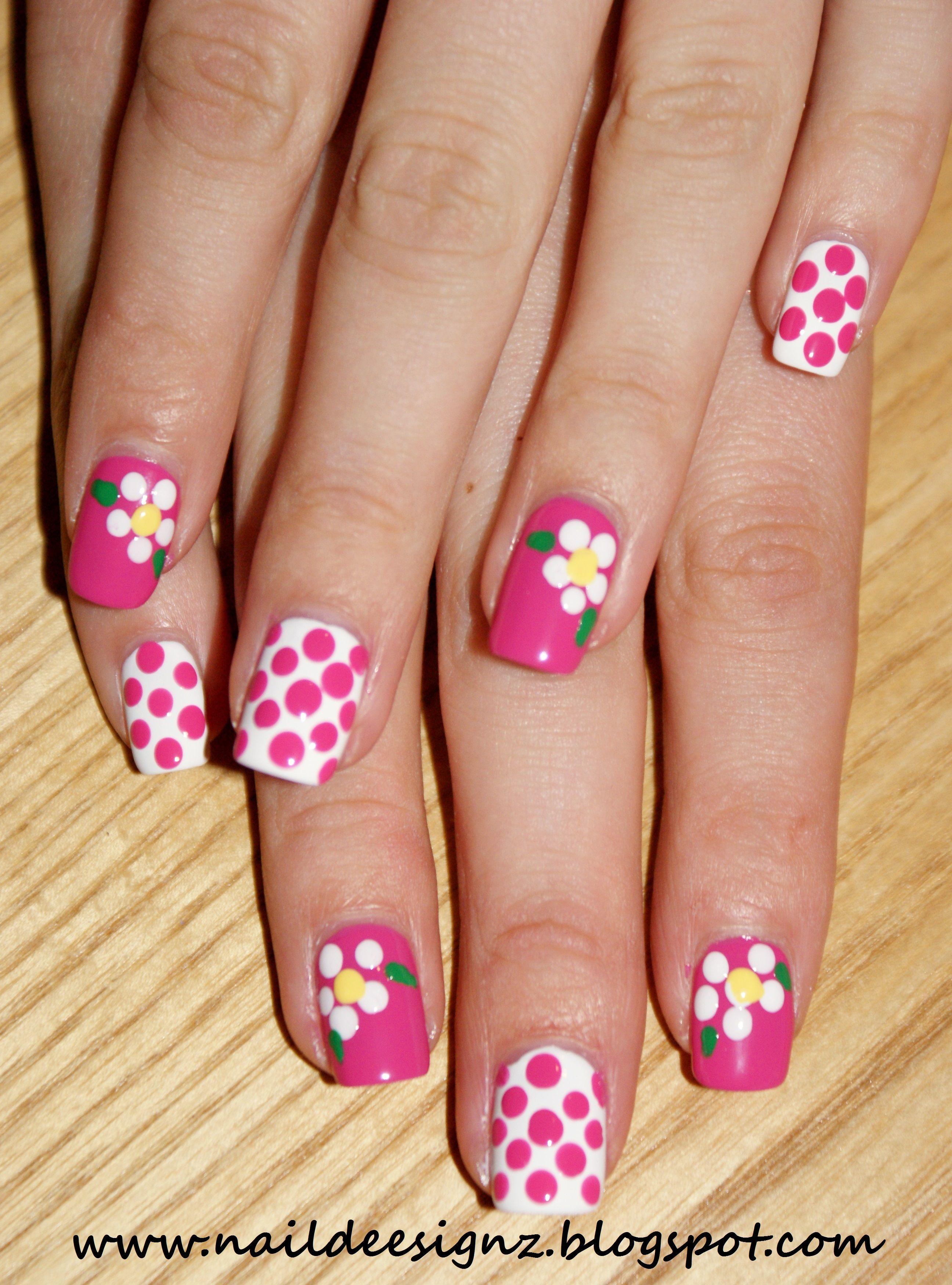 Polka Dot Flower Nail Art X Httpnaildeesignzspot