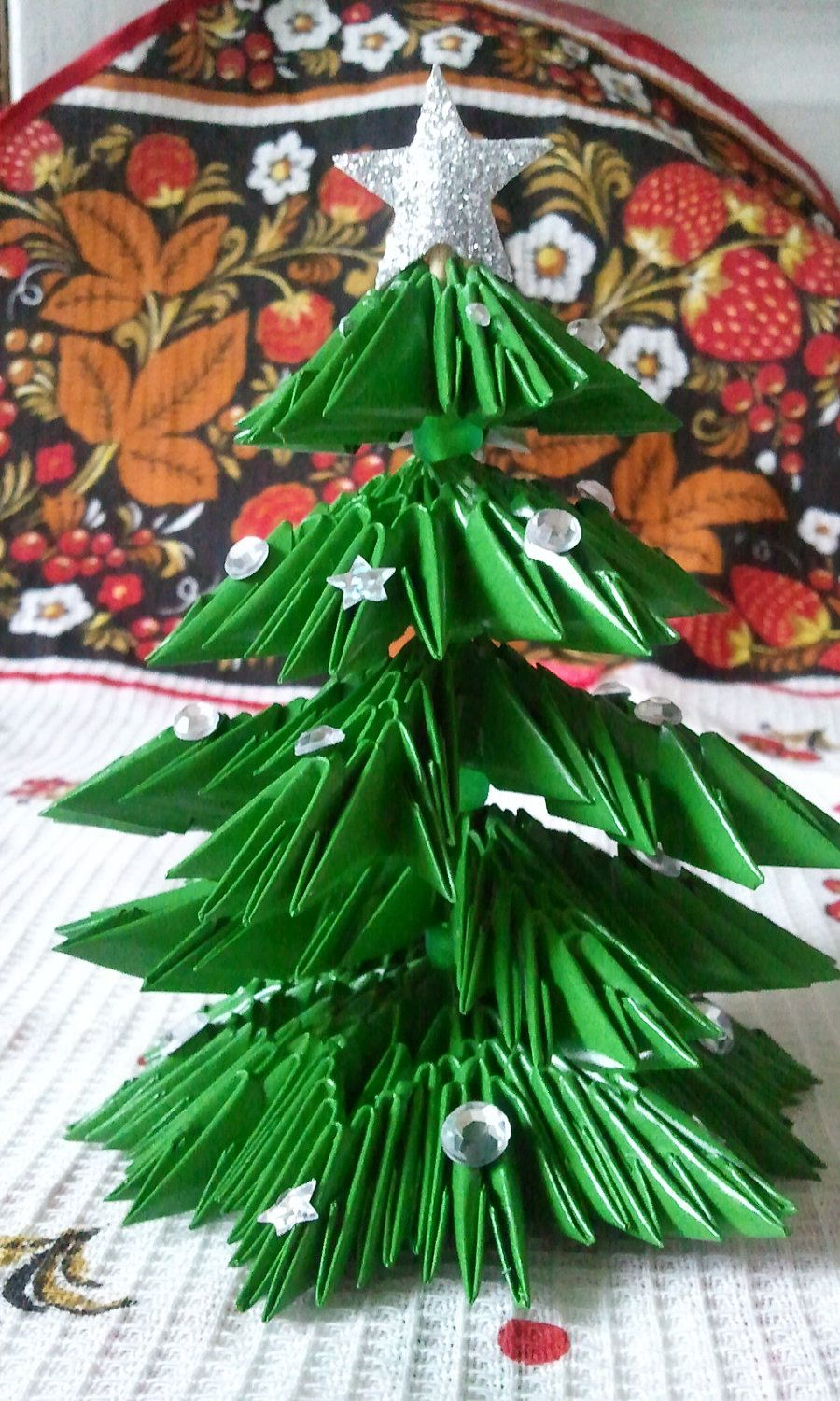 3d Paper Heart Craft: 3D Origami Christmas Tree. $18.00, Via Etsy.