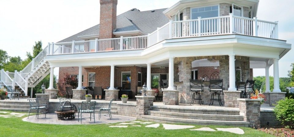 Images for two story outside decks outdoor kitchen for Two story sunroom
