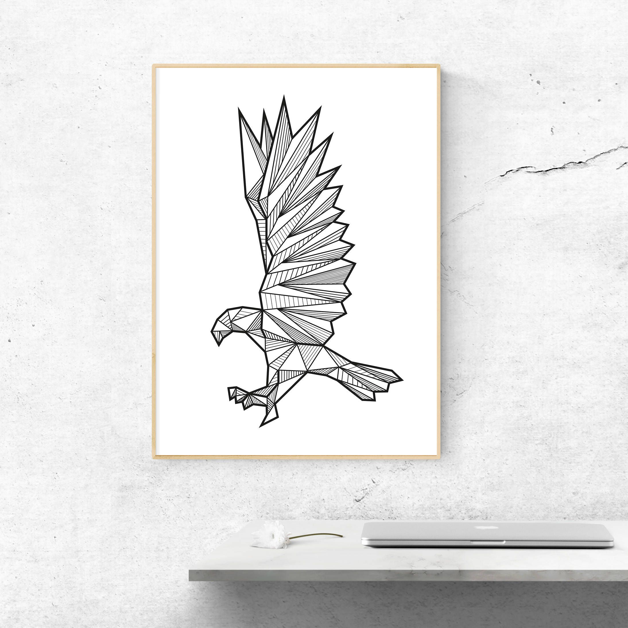 Geometric Animals Eagle Wall Art Digital Print Geometric