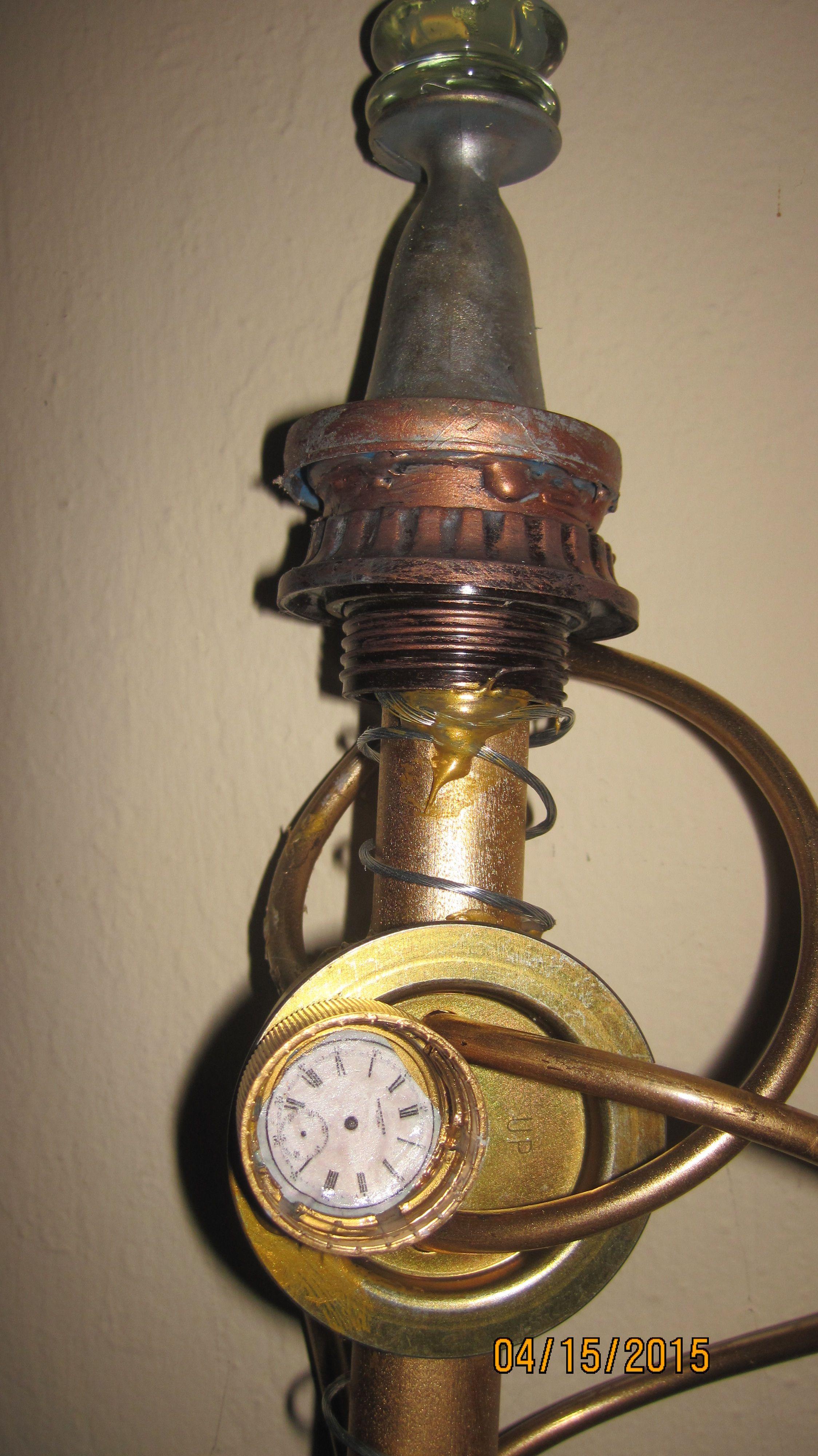 Steampunk Walking Stick Diy From Dowel Door Part Bottle Cap