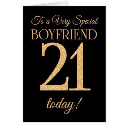 Chic 21st Gold Effect On Black Boyfriend Birthday Card